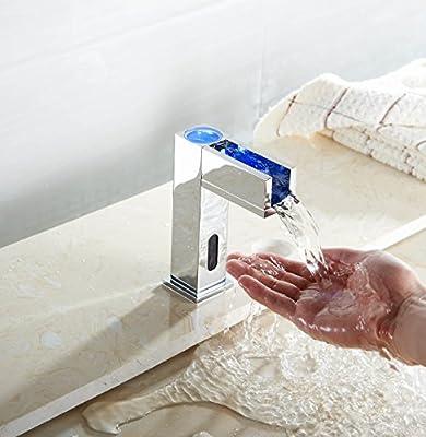 Aquafaucet LED Sensor Automatic Touchless Waterfall Bathroom Faucet Up Open Channel Spout Vessel Sink Mixer Tap Lavatory Chrome Finished