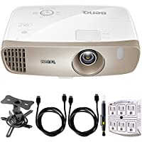 BenQ HT3050 2000 ANSI Lumens Full HD 1080p DLP Home Theater Projector w/ Rec. 709 + Projector Mount Bundle Includes, Low Profile Projector Mount, 2x HDMI Cable, 6-Outlet Surge Adapter & Cleaning Pen