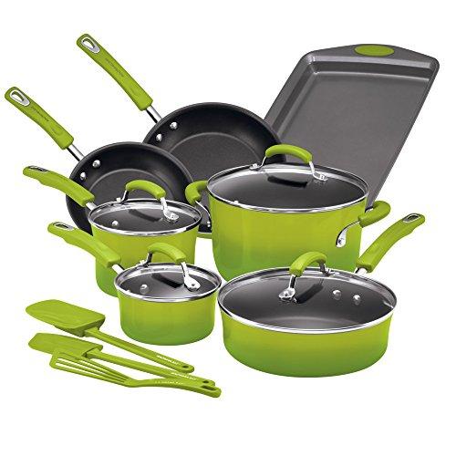 Rachael Ray Hard Porcelain Enamel Nonstick Cookware Set, 14-Piece, Green - Pans Gourmet And Pots