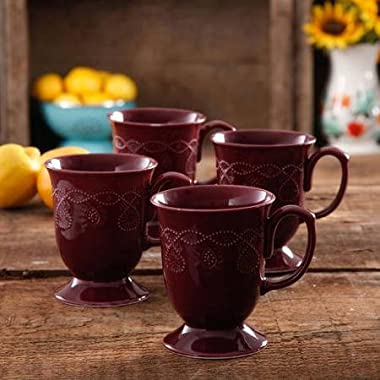 The Pioneer Woman Cowgirl Lace Plum Mug Set, Set of 4, Features Transparent glaze & Dishwasher Safe