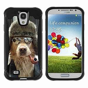A-type Arte & diseño Anti-Slip Shockproof TPU Fundas Cover Cubre Case para Samsung Galaxy S4 IV (I9500 / I9505 / I9505G) / SGH-i337 ( Cool Dog, Pipe & Sunglasses )