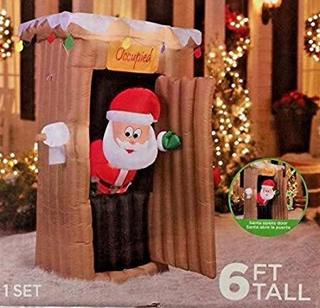 Airblown Santa In Outhouse Animated Lighted Christmas Inflatable Outdoor Decor