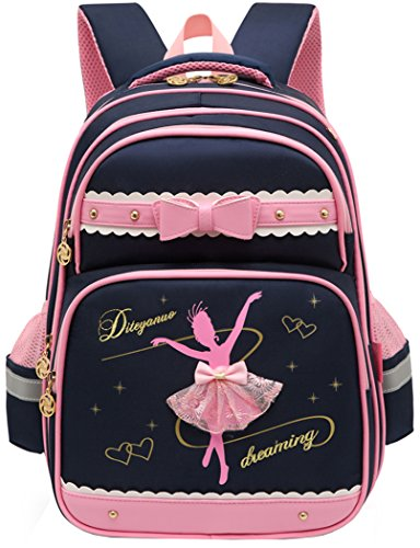 Moonmo Girls Waterproof Ballet Girl Dancing Princess School Backpack Bookbag