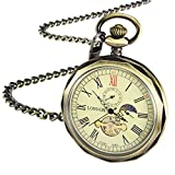 TREEWETO Mechanical Pocket Watches Bronze Roman Numerals Open Face With Chain Men 24-Hour Moon Sun + Gift Box