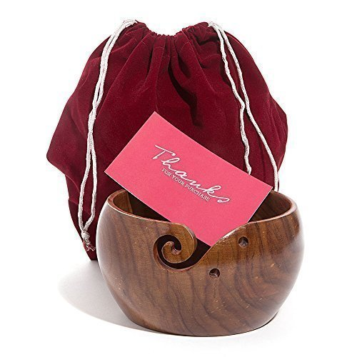 Hagestad Yarn Bowl-6''x3'' Rosewood -Wooden with Free Travel Pouch & Wooden Crochet Hooks. Handmade from Sheesham Wood- Heavy & Sturdy to Prevent Slipping. Perfect Yarn Holder for Knitting & Crocheting by Hagestad (Image #7)
