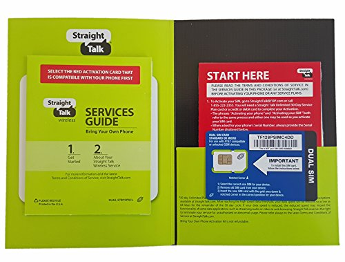 Straight Talk Sim Card (standard size) and Activation Instructions Card for AT&T & Unlocked GSM Phones (Straight Talk Mobile)