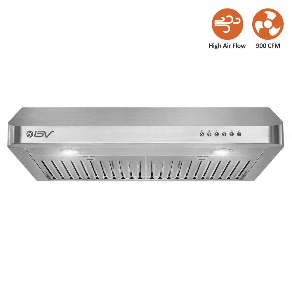 BV Range Hood - 30 Inch 900 CFM Under Cabinet Seamless Stainless Steel Kitchen Range Hoods, Dishwasher Safe Baffle Filters w/ LED Lights, Ducted Kitchen Exhaust Fan Hood