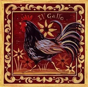 Il Gallo II Beautiful MUSEUM WRAP CANVAS Print with Added BRUSHSTROKES Jennifer Brinley 12x12