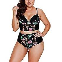 GRE1BEE Women Plus Size Swimsuit High Waisted Split Ruffles Push up Halter Bikini Set