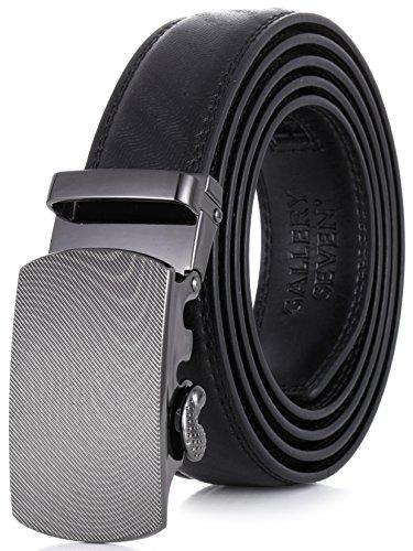 Belt Buckle Detachable - Gallery Seven Mens Leather Ratchet Belt - Adjustable Click Belt for Men - Black Style-7 - Medium Up To Waist 44