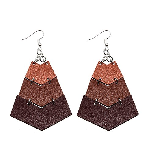 Layered Leather Earrings Handcrafted Unique Geometric Jewelry for Women (triangle-Coffee) from LIANKONG