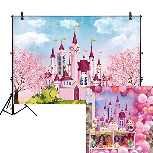 Allenjoy 7x5ft Royal Pink Castle Backdrop Blue Sky Floral for Newborn Girl Portrait Photography Background Baby Shower Happy Birthday Party Cake Dessert Table Decor Decoation Banner Photo ()