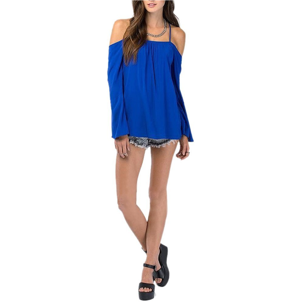 5647300dc24257 SODIAL Womens Halter Backless Cross Straps Loose Off Shoulder Shirt Blouse  Top Blue US S Asian M  Amazon.co.uk  Sports   Outdoors
