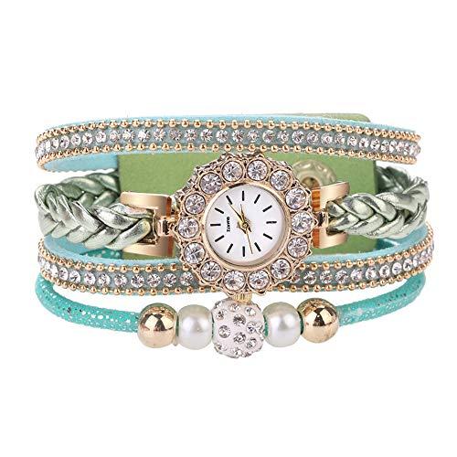 - gu6uesa8n Wrist Watch for Women Girls Retro Multilayer Beads Braided Bracelet Round Dial Quartz - Green