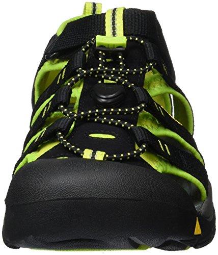 Keen Newport H2, Sandalias Deportivas Unisex Bebé Negro (Black/Lime Green)