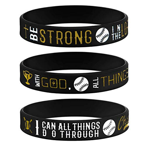 Sainstone Power of Faith Baseball Bible Verse Silicone Wristbands with Christian Inspirational Sayings, Set 3 of Scriptures Motivational Rubber Bracelets Sports Gifts (Black Gold)