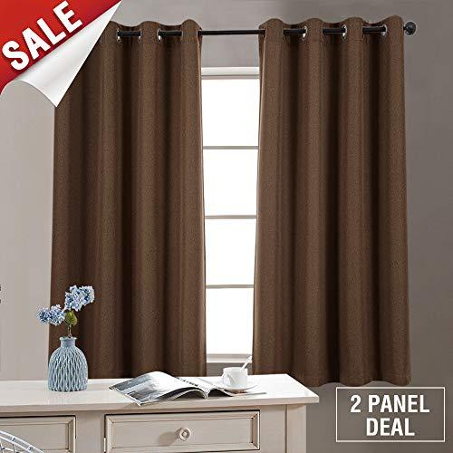 2 Panel Blackout Curtains Brown 63 inch Bedroom Linen Textured Curtains Room Darkening Window Curtains Grommet Blackout Drapes Living Room (Dark Brown Curtains)