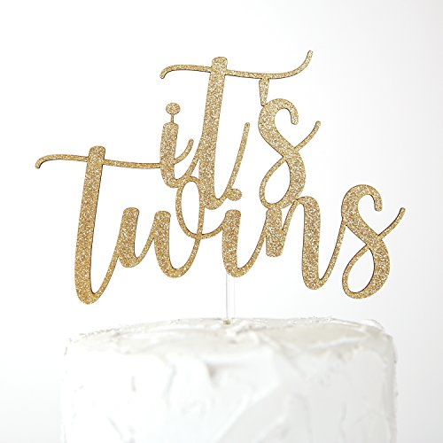 NANASUKO Baby Shower Cake Topper - it's twins - Double Sided Gold Glitter - Premium Quality Made in USA (it's twins)]()