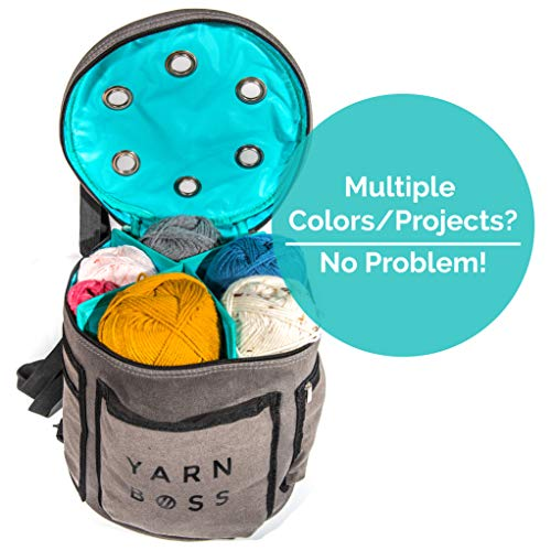 Yarn Boss Yarn Bag, Travel With Yarn and all Notions - Yarn Storage To Organize Multiple Projects and Keep Your Yarn Safe and Clean - Wide Grommets Stop Tangling for Best Crochet Bag or Knitting Bag by Yarn Boss (Image #3)