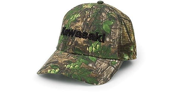 Amazon.com  Kawasaki 3D Logo Adjustable Trucker Hat Realtree Camo  K006-4057-GNNS  Automotive ac59bbafab7