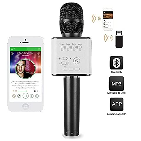 Portable Bluetooth Karaoke Handheld Wireless Microphones Mic fit IOS Apple Iphone Android Samsung BlackBerry iPad Tablet Karaoke Home Party KTV - Magic Mic