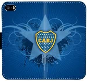 Caja del cuero de Boca Juniors Y5W8V Funda iPhone 5 5S 5SE funda de teléfono 7P37x8 pilas funda del caso del tirón