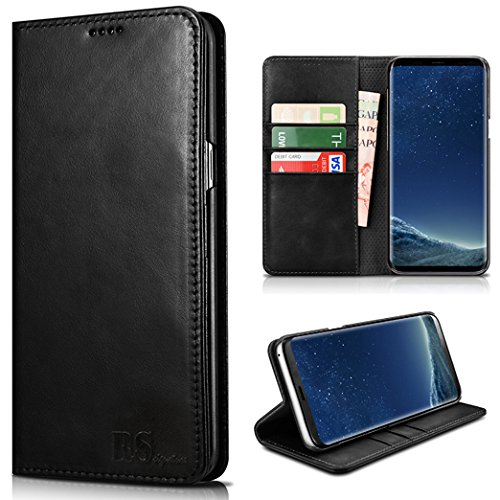 RS Signature Collection Genuine Leather Black Samsung Galaxy S8 Cell Phone Case With Credit Card Slots and Phone Stand. DOES NOT FIT S8+