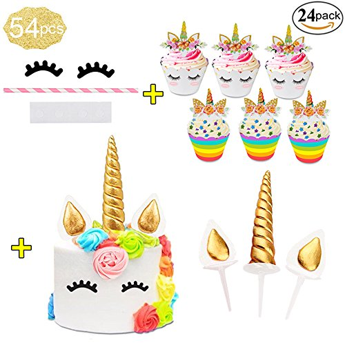 Price comparison product image Awenyle 3D Gold Unicorn Cake Topper Set with Eyelashes, Horn and Ears, 24 Cupcake Toppers and Wrappers sets, Unicorn Party Supplier for Girls Boys Birthday,  Baby Shower, Wedding.