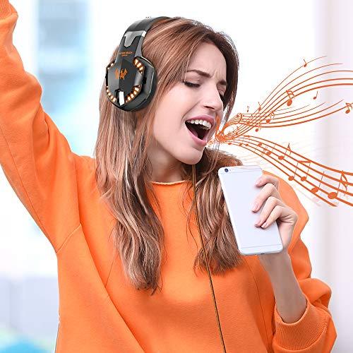 VersionTECH. Auriculares para juegos G2000, auriculares estéreo envolventes para juegos con micrófono con cancelación de ruido, luces LED y orejeras de memoria suave para Xbox One, PS4, Nintendo Switch, PC Mac Juegos de computadora - Naranja