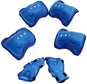 Kids Children Bike Knee Pads and Elbow Pads with Wrist Guards Protective Gear Blue
