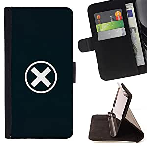 - X Error Warning Minimalist Symbol - Estilo PU billetera de cuero del soporte del tir???¡¯????n [solapa de cierre] Cubierta- For Samsung Galaxy S6 £š Devil Case £©