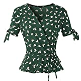 Tops for Womens V Neck Floral Printing Blouse Bandage Short Sleeve Ruffle Hem T Shirt (L, Green)