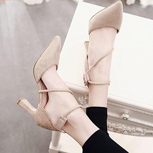 sandalias Verano Baotou Zapatos Black Mujer Retro Zapatos Crossover Punta Medio Vendas De Tacón Gtvernh Grueso Mujer AcSqAE