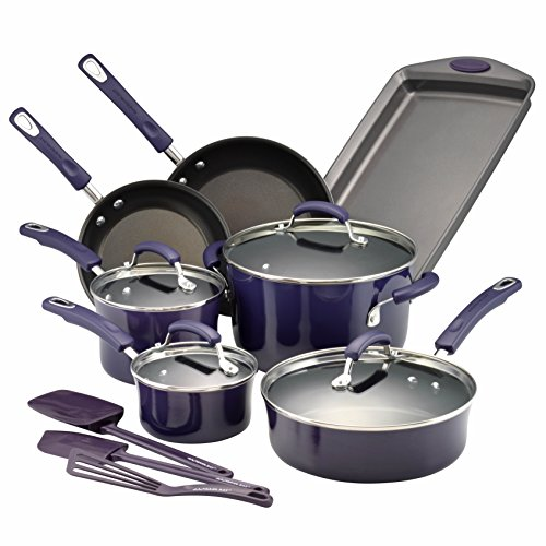 Rachael Ray 14558 Hard Porcelain Enamel Nonstick Cookware Set, 14-Piece, Purple Gradient (Cookware Rachael Porcelain Non Stick Ray)