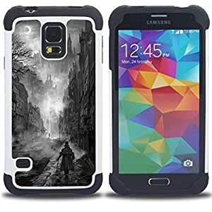 GIFT CHOICE / Defensor Cubierta de protección completa Flexible TPU Silicona + Duro PC Estuche protector Cáscara Funda Caso / Combo Case for Samsung Galaxy S5 V SM-G900 // Black White Painting Castle Vampire //