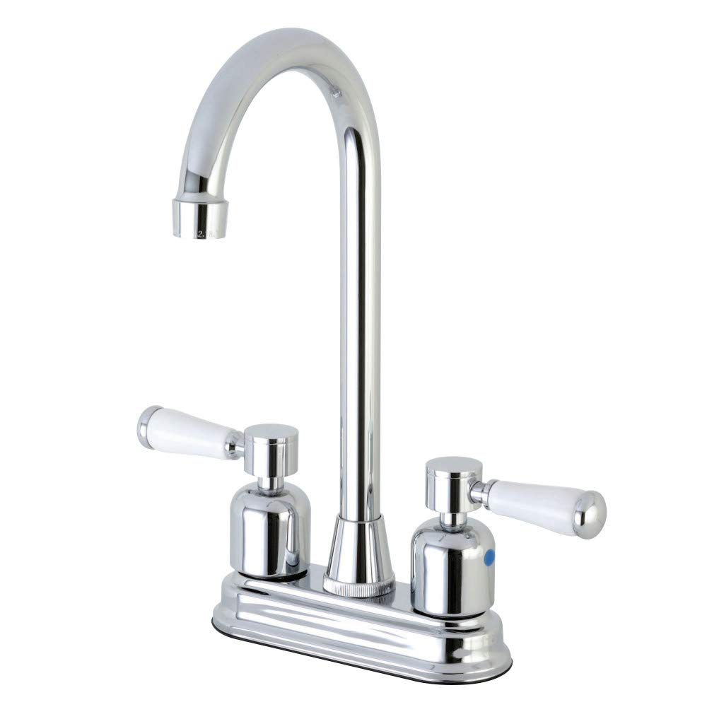 Kingston Brass FB491DPL Paris 4-Inch Center set High-Arch Bar Faucet, Polished Chrome by Kingston Brass