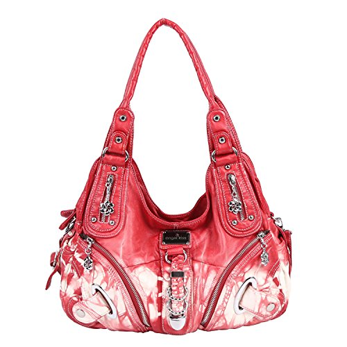 Angelkiss Two Top Zippers Closure Multiple Pockets Purses and Handbags Washed Leather Shoulder bags Women AK11282 (Bright Red)
