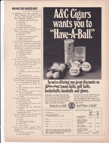 A&C Cigars Wants You To Have A Ball Tennis 1974 Original Vintage Advertisement -