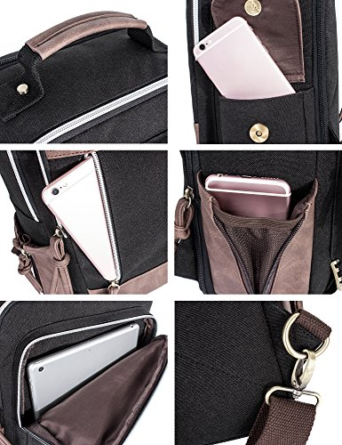 Leaper Retro Messenger Bag Outdoor Cross Body Sling Bag Travel Bag Shoulder Backpack (Black3103) by Leaper (Image #7)