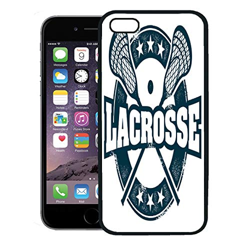 Semtomn Phone Case for iPhone 8 Plus case,Lax Vintage Lacrosse Sport Stamp Helmet NCAA Youth College Distressed iPhone 7 Plus case Cover,Black