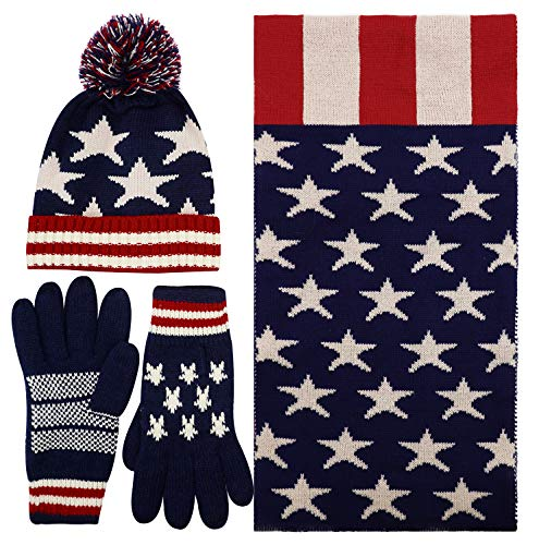 Women's Lady's USA American Flag Star Print Knitted Hat Beanie and Scarf Set, Adult 3 Pieces Set (American Flag Pom Pom Hat)