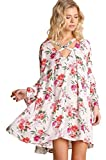 Umgee Floral Loose Flowy Bell Sleeve Swing Trapeze Tunic Dress Boho Gypsy S-2X (1XL Plus, IVORY MIX)