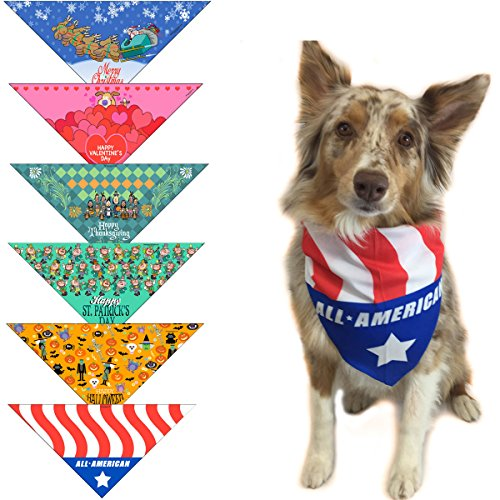 6 pc Holiday Dog Bandana Med to Large Dogs - Set of (Pet Bandana)