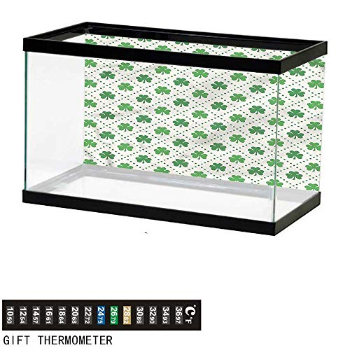- bybyhome Fish Tank Backdrop Irish,Four Leaf Shamrock Dots,Aquarium Background,24