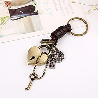 Retro Alloy Key Pendant Leather Keychains Punk Leather Key Ring
