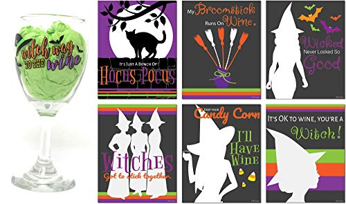 Halloween Witch Wine Glass with Wine Bottle Labels set, 10 oz Witch themed Wine Glasses, Wine Lovers Gift Set, Wine Glass with Funny Wine Sayings for gifts (Witch Way to the Wine)