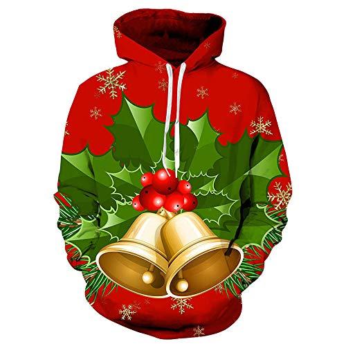 Unisex Hooded Sweatshirt,Unisex 3D Printed Christmas Pullover,Unisex Hooded Sweatshirt Hoodies(3XL,Red)