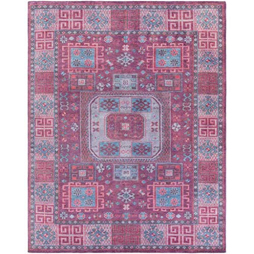 India House Burgundy Rectangle Rug - Ogden Moroccan Bohemian Farmhouse 8' x 10' Rectangle Classic 100% Wool Burgundy/Dark Blue/Lavender/Navy Area Rug