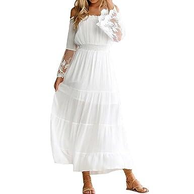 901dfcd2fb7a12 Eforyou Damen Strandkleider Sommerkleider Maxikleider Lange Ärmel  Schulterfreies Spitzenkleid Weiß