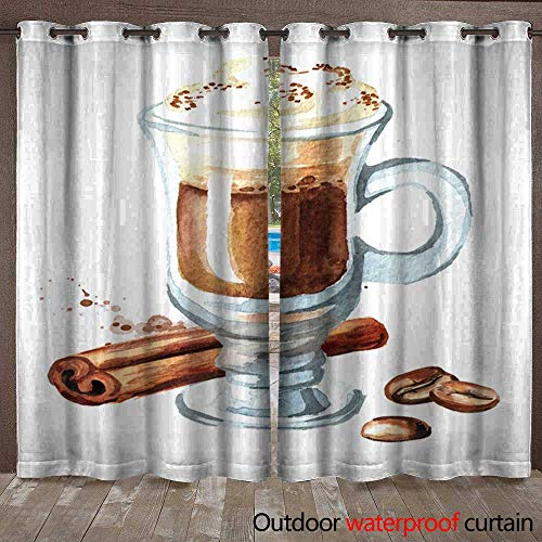 Outdoor Waterproof Curtain Traditional Irish Cream Coffee with Cinnamon and Coffee Beans Watercolor Hand Drawn Illustration Isolated on White Background Waterproof CurtainW108 x L96